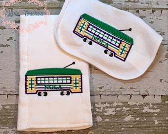NOLA Streetcar Bib and Burp Cloth