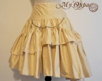 short Skirt Steampunk Wild silk off-white