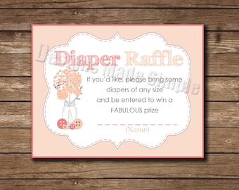 Baby Shower Invite Insert - Diaper Raffle - Cute as a Button - Peach and Coral - Instant Download