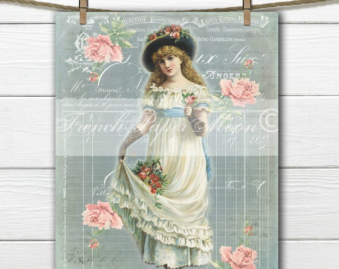 Shabby Digital Victorian Girl with Roses, Printable Vintage French Graphics, Victorian Lady, Instant Download, Fabric Transfer