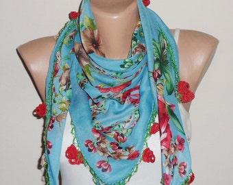 blue scarf red green scarf floral print scarf oya scarf shawls gift for her turkish scarf