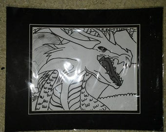 Black and white dragon matted print
