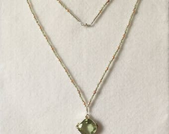"lime Green Quartz Pendant set in Tibetan Silver on Peridot, Freshwater Pearl and seed bead  22"" necklace"
