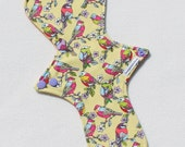 "Cotton Flannel Topped. Reusable Modern Cloth Pad featuring bird print  (29cm/11.5"")"