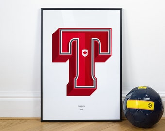 T is for Toronto, Football Typography Print