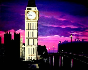 Big Ben London colorful print of a Pamela Henry painting purples pinks sunset cityscape landmark