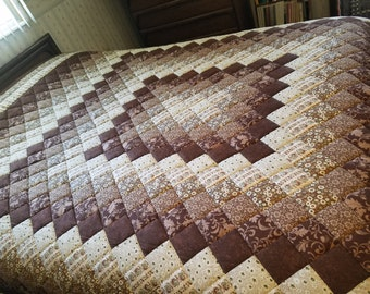 Brown King Size Trip Around the World Quilt, hand-quilted.