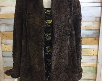 1940's Weald furriers Persian lamb brown fur jacket