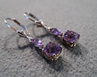 Vintage Sterling Silver Pierced Earrings 4 Marquise Round Prong Set Amethyst Lever Back Dangle Style      #1360