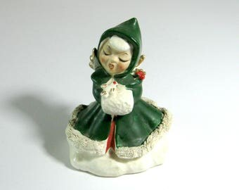 Vintage Ceramic Christmas Caroling Angel Bell with Green Robe