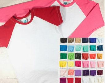 Custom Color Raglan Tee Shirt - BaseBall Shirt - Kids Raglan Tee - Custom Shirt - Raglan Tee - Raglan Tee Blank - 3/4 sleeve Raglan shirt