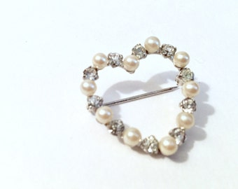VIntage Faux Diamond & Pearl Heart Brooch, Vintage Heart Pin