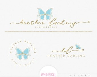 minimal Butterfly Logo-Premade Photography Logo and Watermark, Classic Elegant Script Font GOLD GLITTER butterfly children Calligraphy