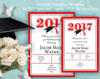 Graduation Invitation Template Download - edit yourself invitation - red, DIY invitation, grade party 2017, class of 2017 party
