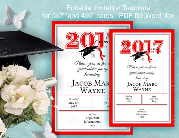 Red Graduation Invitation Template Download - class of 2017 - edit yourself invitation