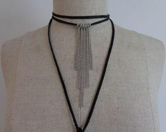 Choker Necklace, Wrap Necklace, Black Choker Necklace, Leather Choker Necklace, Wrap Choker Necklace, Leather Wrap Choker Necklace