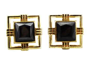 Large Gold Square Cuff Links, Gold and Black Cuff Links, Large Gold Cuff Links