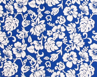 50% SALE, Hawaiian Fabric, Hibiscus Flowers, Floral Fabric, Blue and White, Resort wear, HawaiiTropical, Quilt Fabric