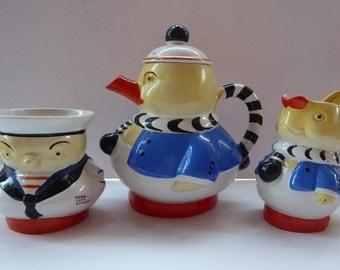 Fabulous MABEL LUCIE ATTWELL Shelley Pottery Nursery Teaset: Duck Teapot, Rabbit Milk Jug and Litte Bird Sugar Bowl