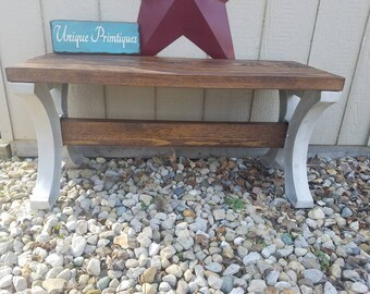 Rustic Indoor Outdoor Wood Bench English Chestnut Stain By Unique Primtiques Custom Sizes Colors See Drop Down Menu Options 2-Year Warranty!