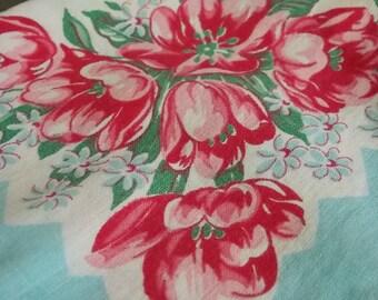 Ladies' Hankies Set of 10 Rose Motif Patterned Vintage Ladies' Handerkerchiefs from the 1950's