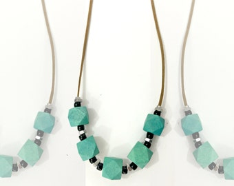 Geometric beads necklace, turquoise necklace, hexagon necklace, green black necklace, geometric wood beads necklace, qube necklace, nulika