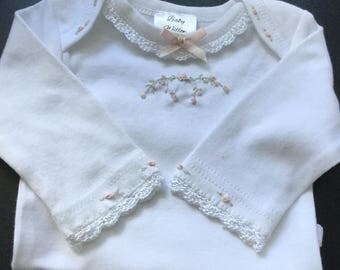 Baby Willow long sleeve Onesie with hand crocheted lace edging