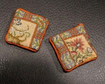 SALE! Dollhouse Miniature Petit Point Pillows--Oriental Pair