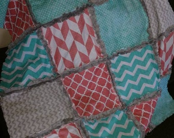 Baby rag quilt coral, turquoise, gray personalized monogrammed