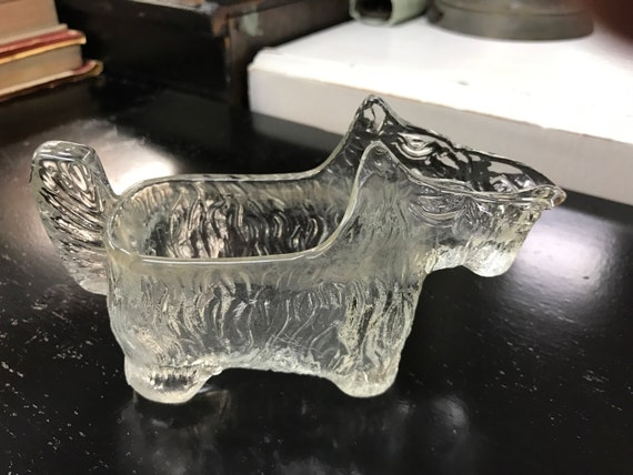 Scotty dog creamer clear glass