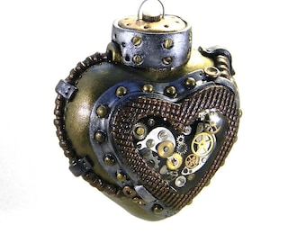 Steampunk Ornament - Clockwork Heart with Key / Industrial Heart Ornament