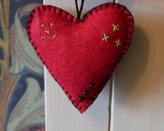 Handmade Red Felt Heart Hanging Ornament
