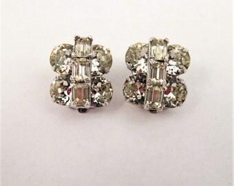 Eisenberg Rhinestone Earrings Rhodium Plate Clear White Baguette Rounds