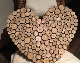 Wood slice wall art 77x70cm , abstract heart, tree slice rustic, handmade