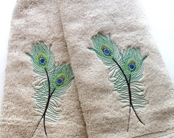 Peacock bath towels, bath towels, peacock, peacock feather, towel sets, hand towel, custom towel,embroidered towel, august ave, peacock bath