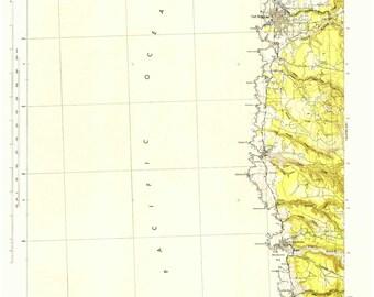 Fort Bragg 1943 Old Topo Map - Edited reprint of the original quad - USGS Topographic California