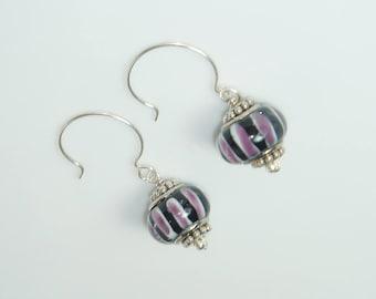Black Large Hole Beads Dangle Earrings