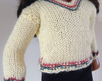 "V-neck sweater forr 16"", 17"" slim doll.  Sasha, Gregor,  Girl for all time."