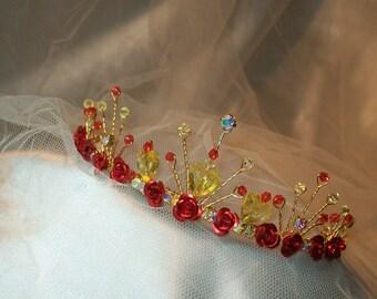 Handmade beautiful Beauty and the Beast inspired Tiara Headdess Crown Fairy Tale fancy dress