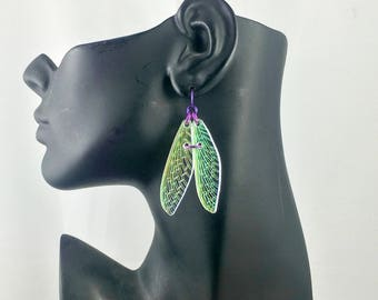 Dragonfly Fairy Wing Iridescent Earrings