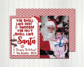 Christmas Card, Photo Card, Santa Card, Candy Cane, Red and White, Elf, Christmas, Holiday,  Invitation, Card, Photo, Elf
