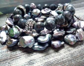 repurposed bracelet necklace, freshwater pearl bracelet, labradorite bracelet, irise freshwater pearl, labradorite beads 10mm, nugget pearl