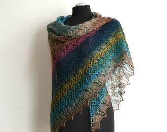 Hand knitted lace shawl multicolor merino triangular wrap handmade