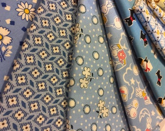 1930's Fabric - FQ 1/4 yd each of 15 Different BEAUTIFUL Prints Blues and Yellows Boy Baby  100% High Quality Cotton BUNDLE