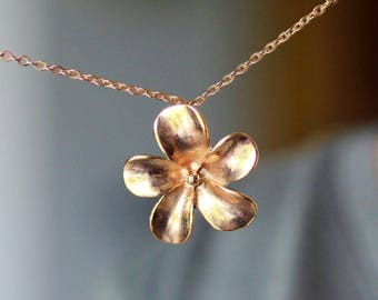 Flower Necklace Rose Gold Necklace Blossom Flower Pendant Gold Flower Necklace Flower Jewelry Sakura Flower Dainty Necklace