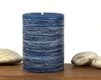 Blue Rustic Pillar Candle - Navy - Midnight - Various Sizes  - Nautical Wedding - Rustic Wedding Candles - Ocean Inspired - Beach Wedding