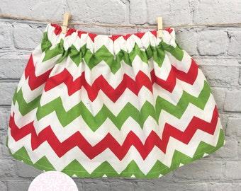 CLEARANCE!!Toddler 2/3 christmas chevron skirt