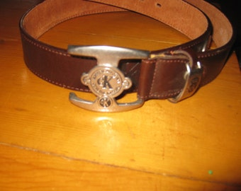 Vtg Calvin Klein Mens Leather Belt logo concho and uniuque buckle awesome vtg 80s free ship sz 38