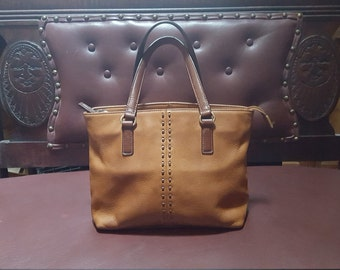 Vtg. Oiled Leather Fossil Handbag 11x7 Sold As Is