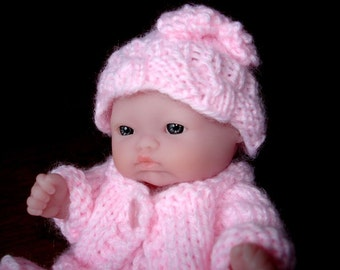 "Lots To Love, Berenguer, Tiny Miniature Doll - Too Cute For Words Baby - 5"" Tall - Pink Hand Knit Outfit"
